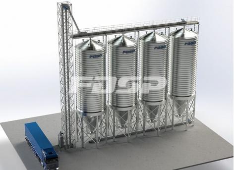 4-200T soybean cake steel silo project