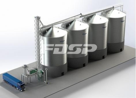 Oil industry 4-2000T soybean steel silo storage project